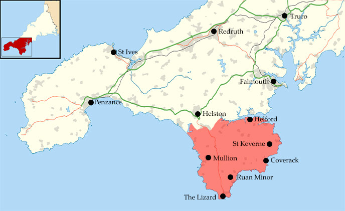Map of the Lizard Peninsular