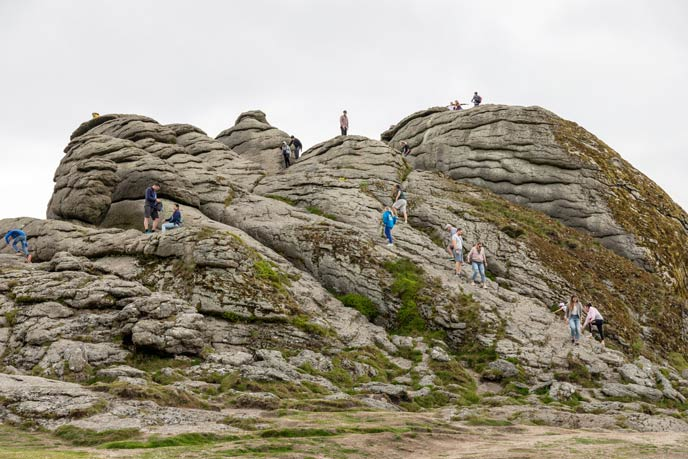 Head slightly right to end up at Haytor Quarries for some dramatic scenery.