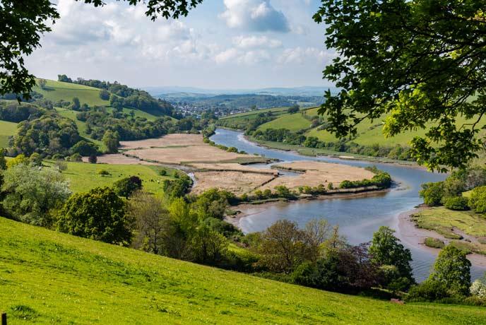 The River Dart looking towards Totnes in the summer