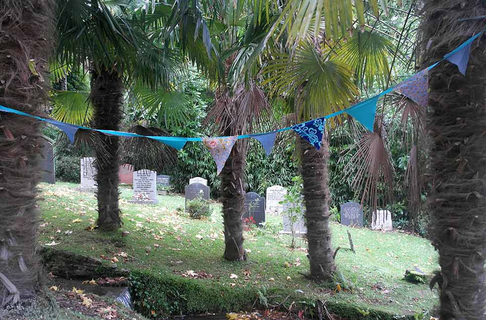 Bunting and gravestones