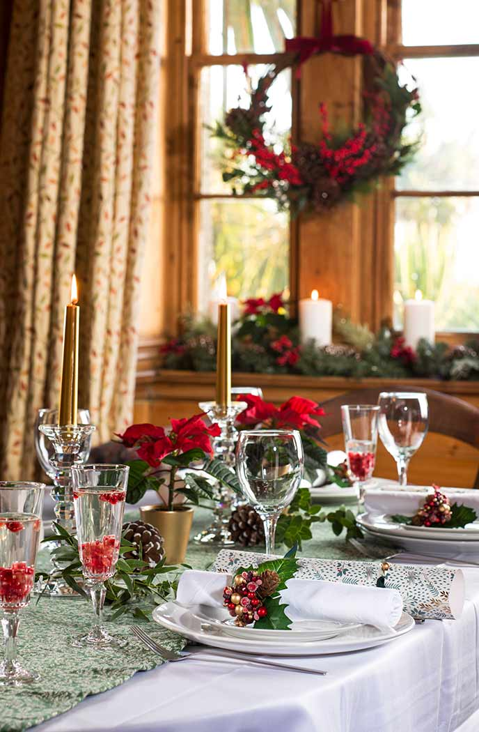 Set the table using homemade decorations at your holiday cottage.