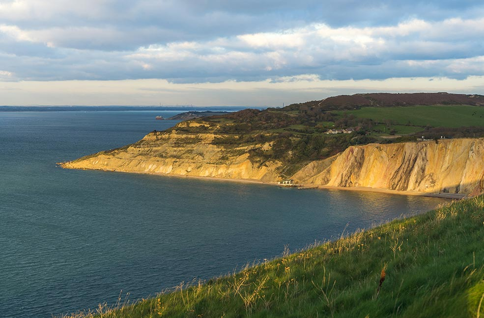 A view of the beautiful white cliffs on the Isle of Wight.
