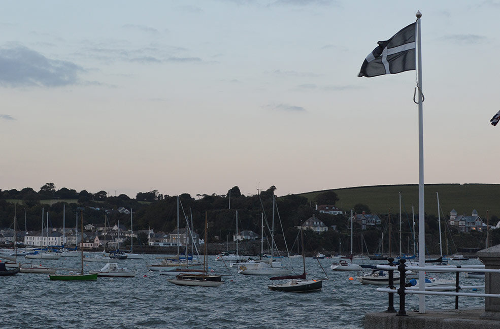 Cornish flag overlooking a Falmouth sunset