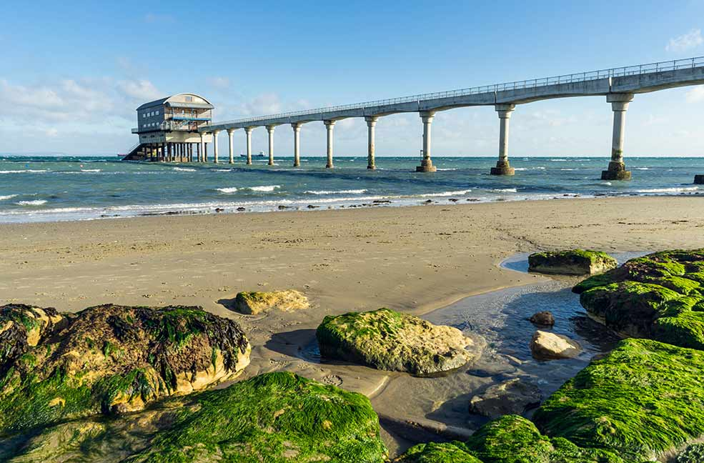 The Bembridge lifeboat station is an iconic view off the coast on the Isle of Wight.