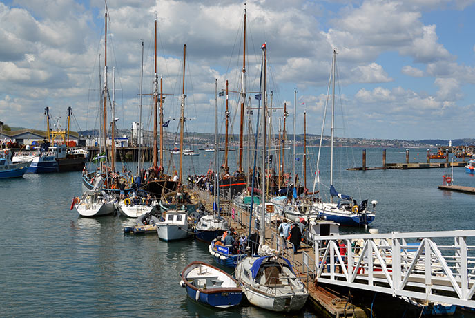 The ships in Brixham marina that you can take a tour of for a small price.