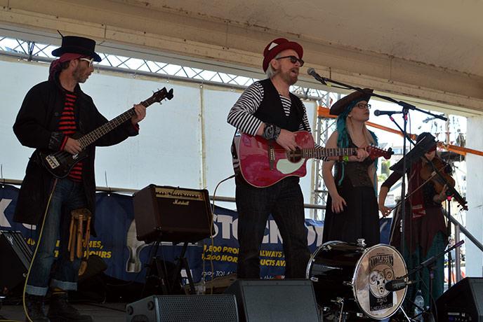 The pirate band at Brixham Pirate Festival kept everyone dancing along.