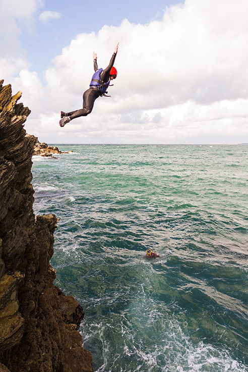 Jumping into the Cornwall sea on a bouldering trip on the north coast.