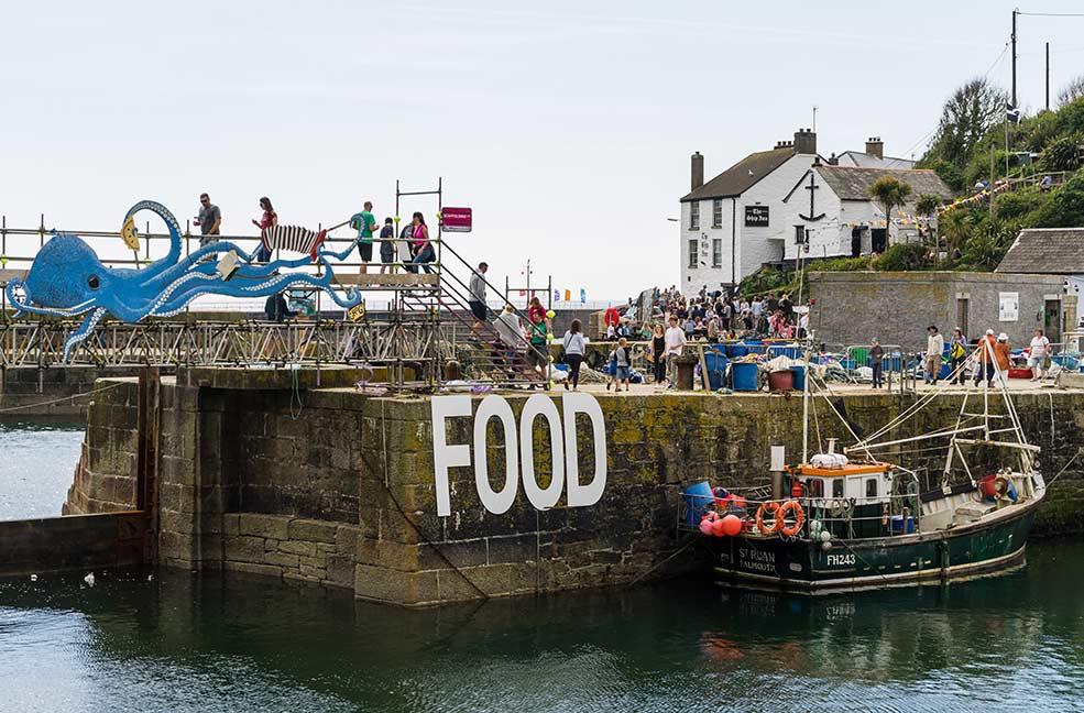 Porthleven Food Festival have a bridge over the harbour each year.