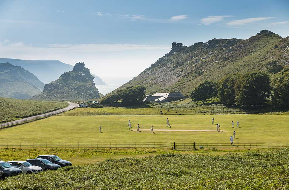 An impromptu cricket match with Exmoor in the background.
