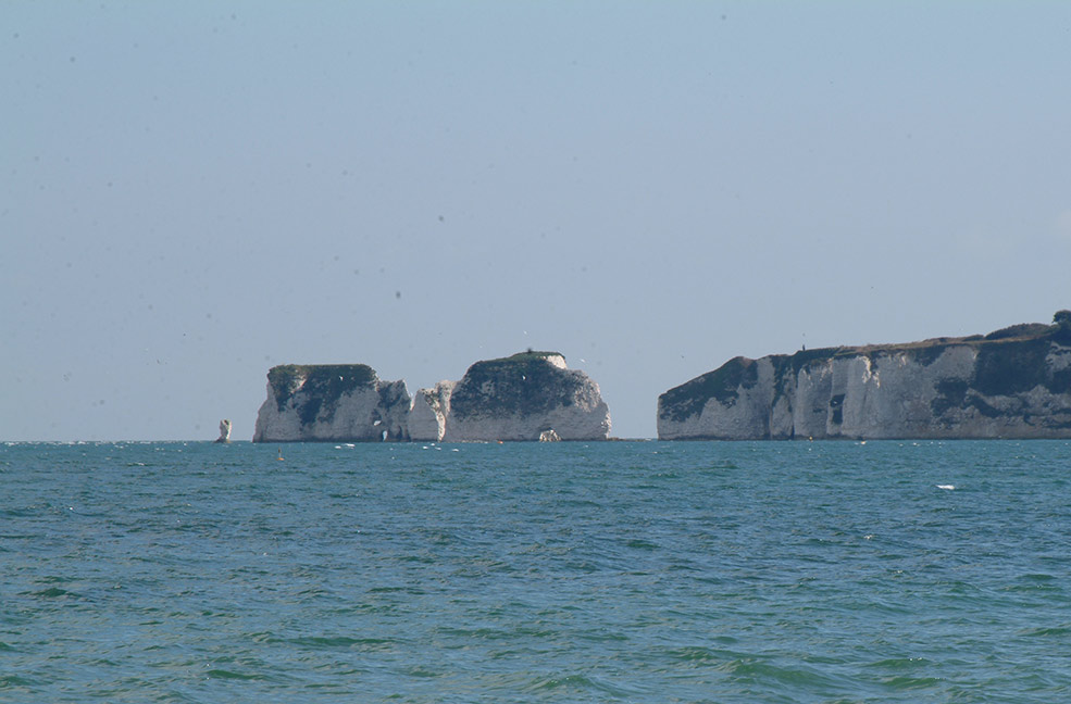 The Old Harry Rocks are a stunning Dorset landmark showing off the chalk ground of Britain's south coast.
