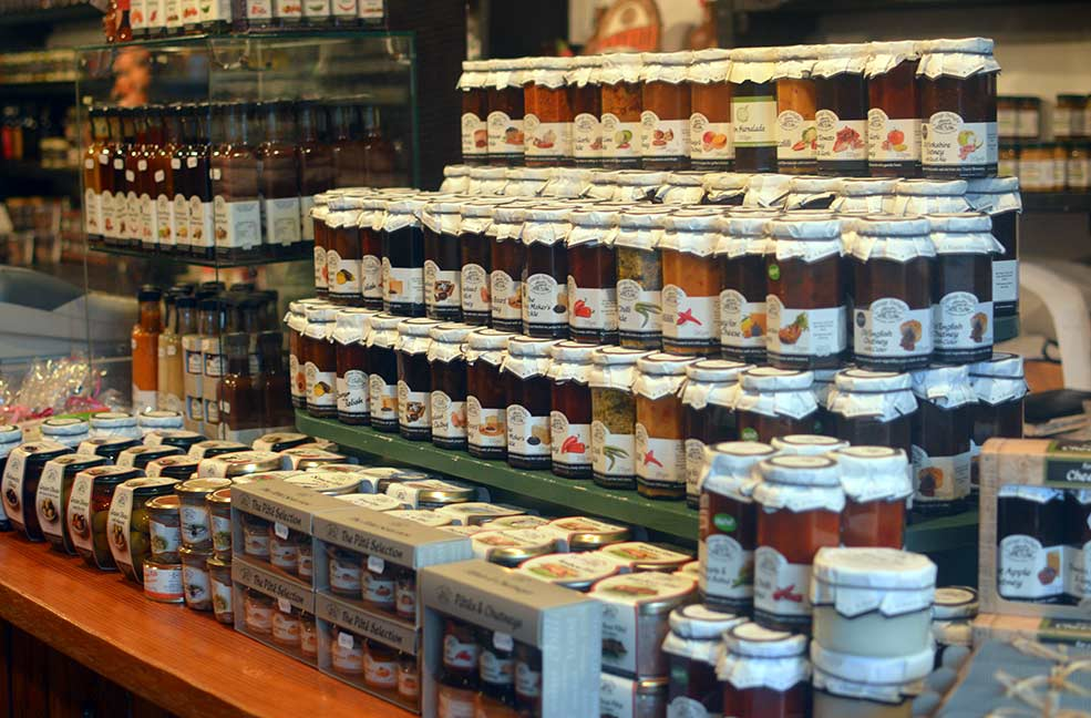 An array of jams in a small shop at the heart of Godshill on the Isle of Wight.