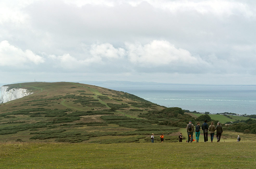 Walking across the Tennyson Downs on the Isle of Wight.