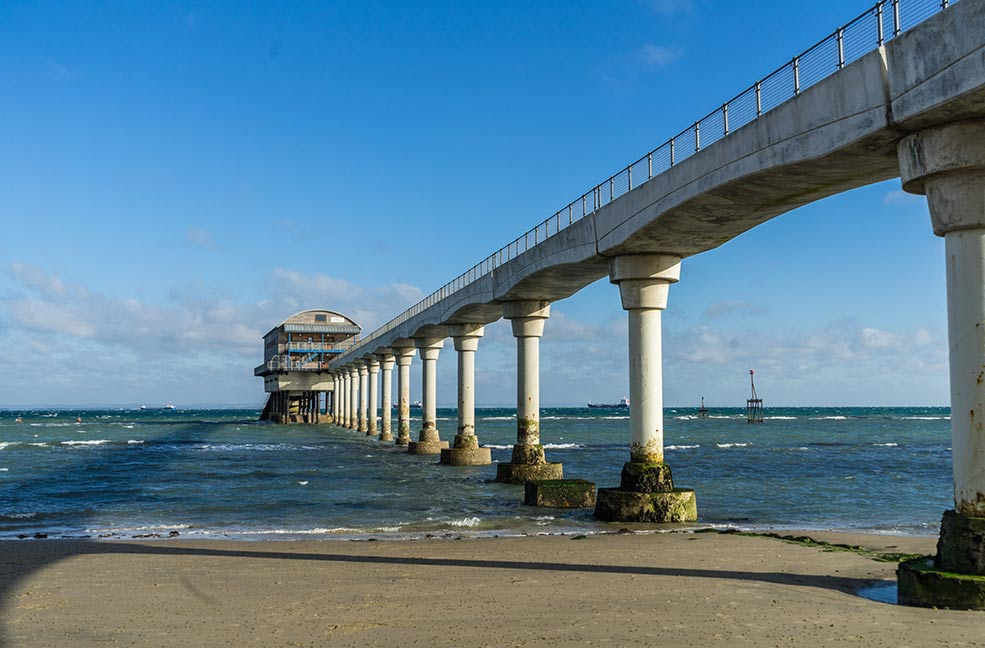 Bembridge lifeboat station towers above the ocean just off the coast at Bembridge.