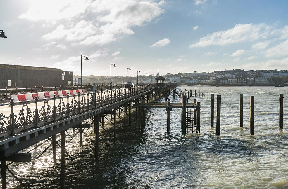 The view from the end of Ryde pier looking back towards Ryde.