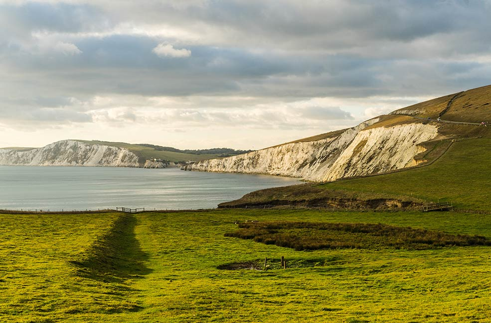 With the iconic white cliffs of the west of the Isle of Wight in the distance, the Tennyson downs are a beautiful rural area for walking and cycling.