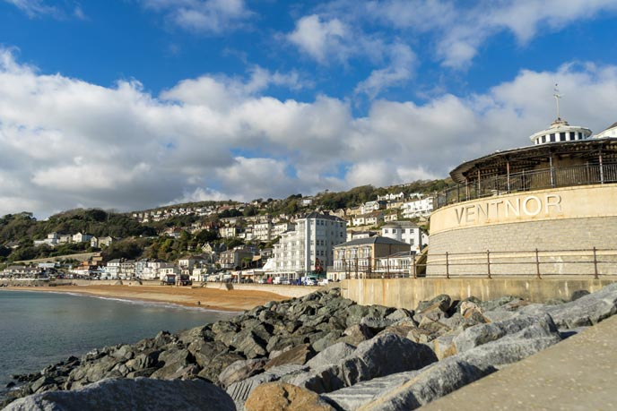 The view over Ventnor haven on the south of the Isle of Wight.