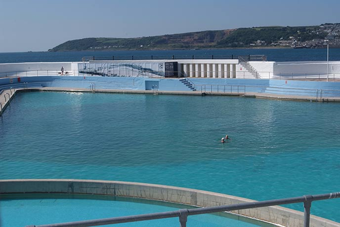 Swim in the tropical lagoon of one of Europe's last saltwater lidos, Jubilee pool in Penzance.