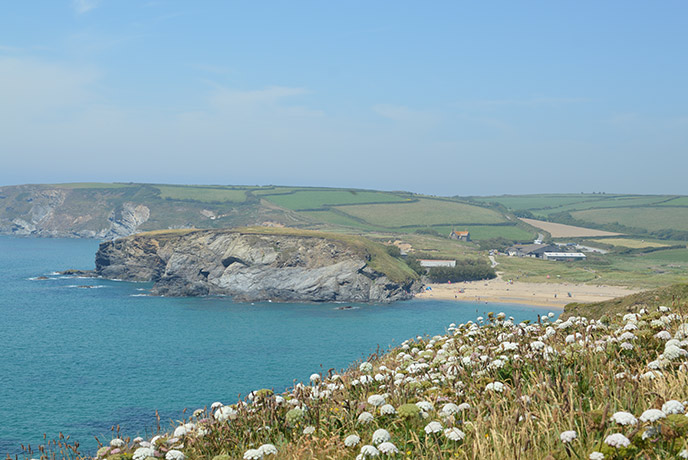 The view to Church Cove from the headland by Poldhu beach. This was used as a location for Poldark.