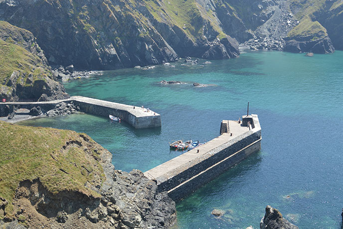 Mullion Cove Harbour is a pretty spot in Cornwall, especially when the sun shines.