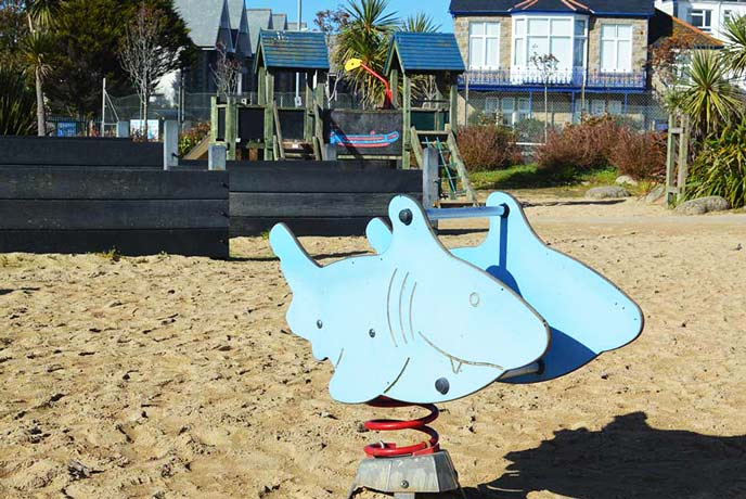 Play area on the promenade in Penzance Cornwall
