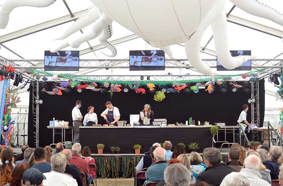 One of the many cooking demonstrations in the Shipyard tent at Porthleven Food Festival.