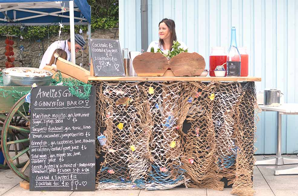 Amelie's specialist gin bar on the harbour side at Porthleven festival.