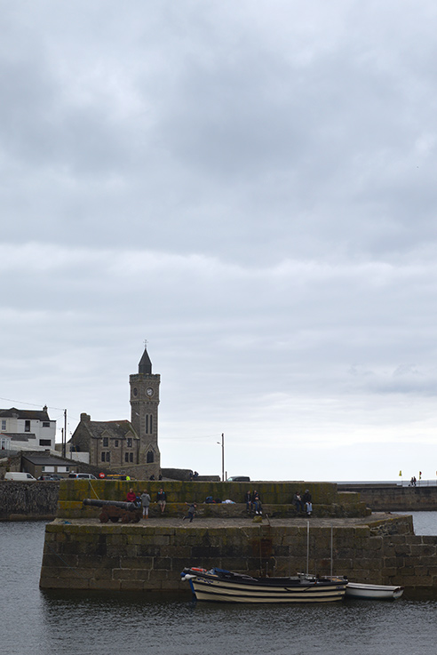 The iconic clock tower at the mouth of Porthleven harbour.