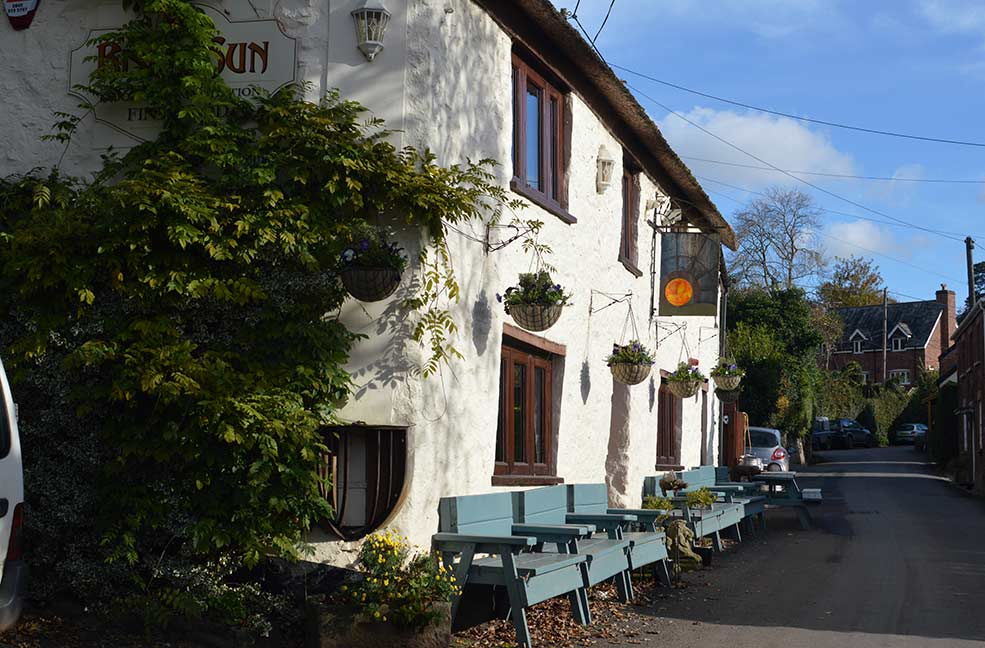 The Rising Sun Inn is just around the corner from Quantock trekking in Somerset. A great place to relax after your ride.