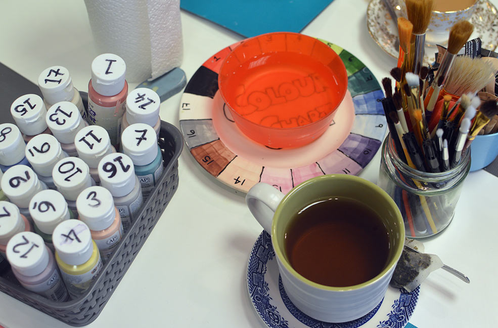 Enjoying a cup of tea while learning how to blend and layer our paints.
