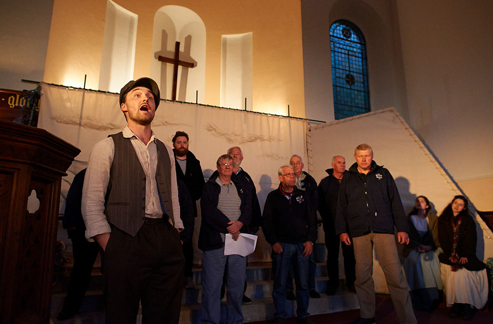 Sea shanty singers, The Press Gang, performing in The Coastguard's Daughter with Canvas Theatre.