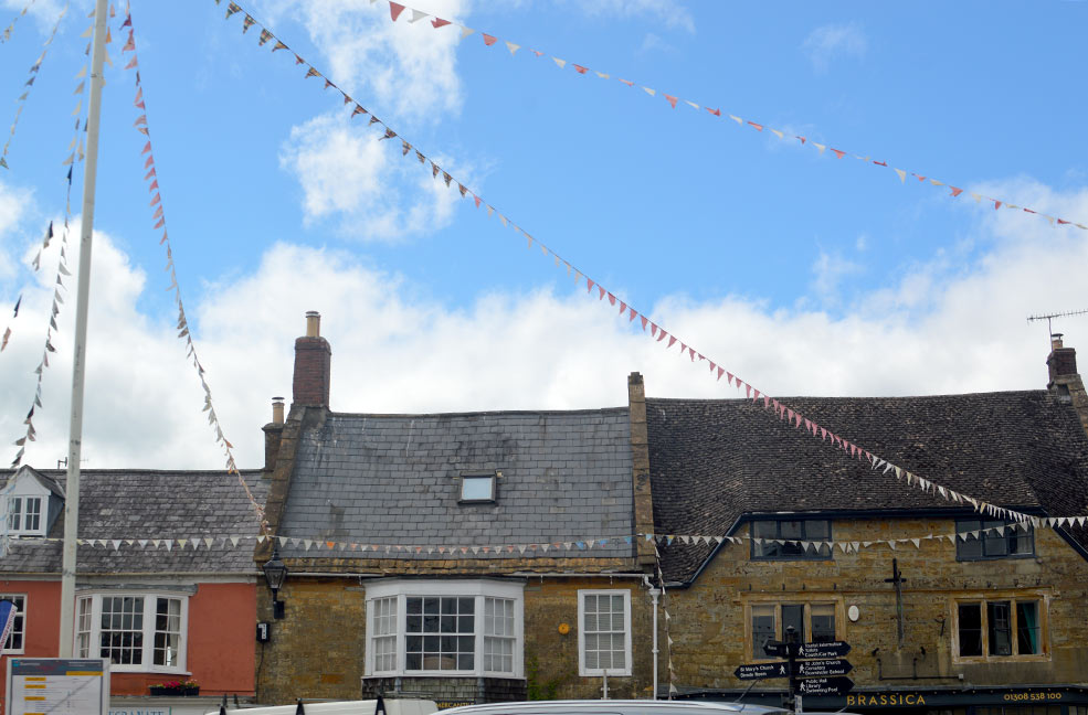 Beaminster rooftops and Brassica