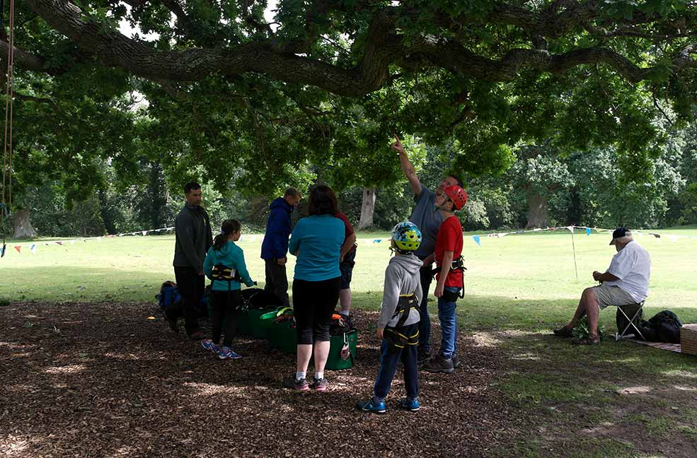 The group gathered around the trees in Puckpool park ready for climbing with Goodleaf.
