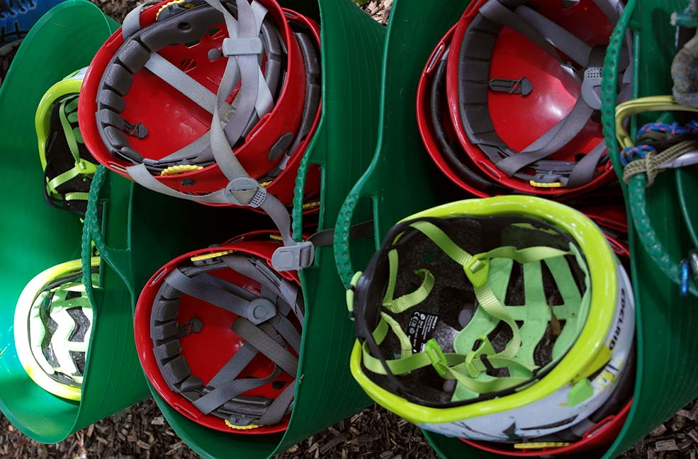 Helmets ready for climbing.