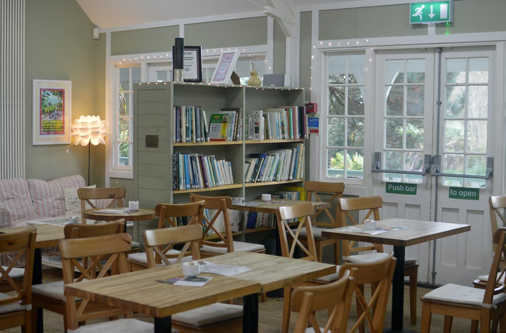The cosy interior of the cafe at Ventnor Botanic Garden on the Isle of Wight.