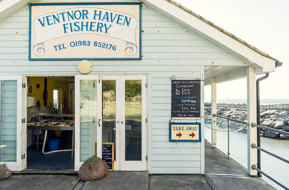 Ventnor haven fishery is a great place to pick up fresh fish for dinner.