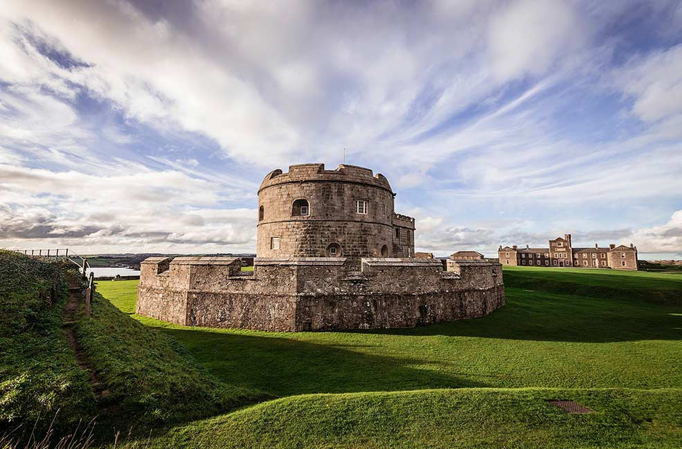 The fortress of Pendennis castle stands on the edge of Falmouth guarding Pendennis Point.