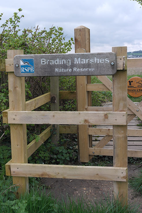 The gate on to Brading Marshes nature reserve.