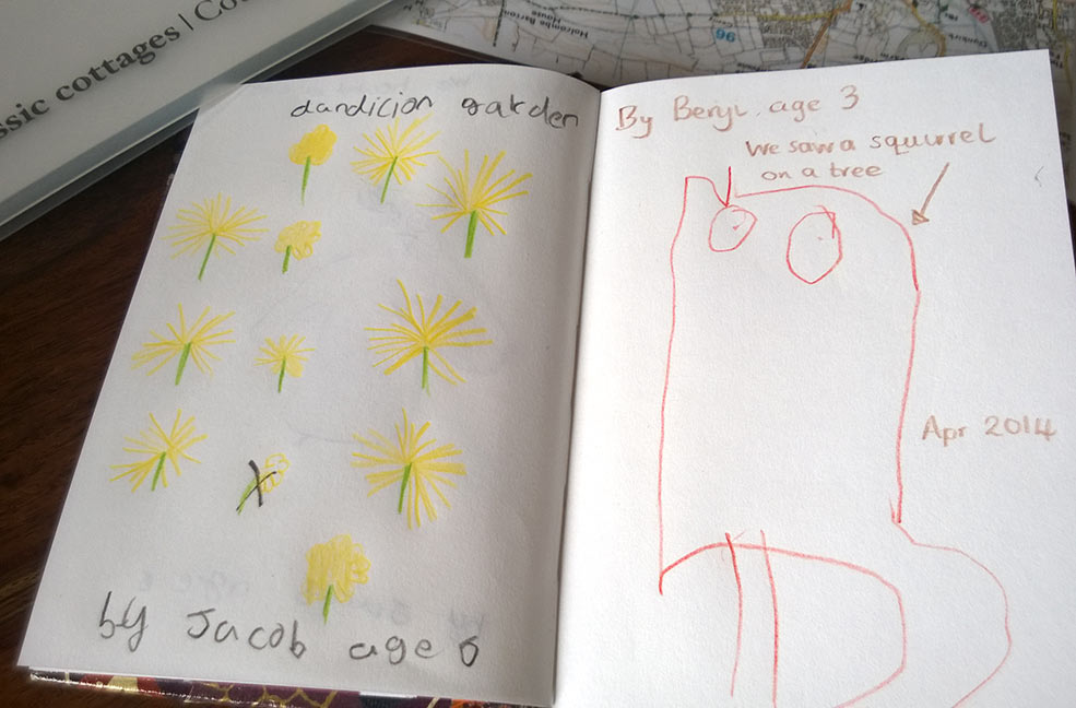 Our dandelion garden by Jacob and We saw a squirrel by Benji age 3