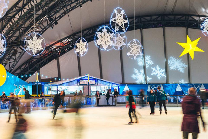 Ice skating under the shadow of the Biomes is a brilliant festive activity.