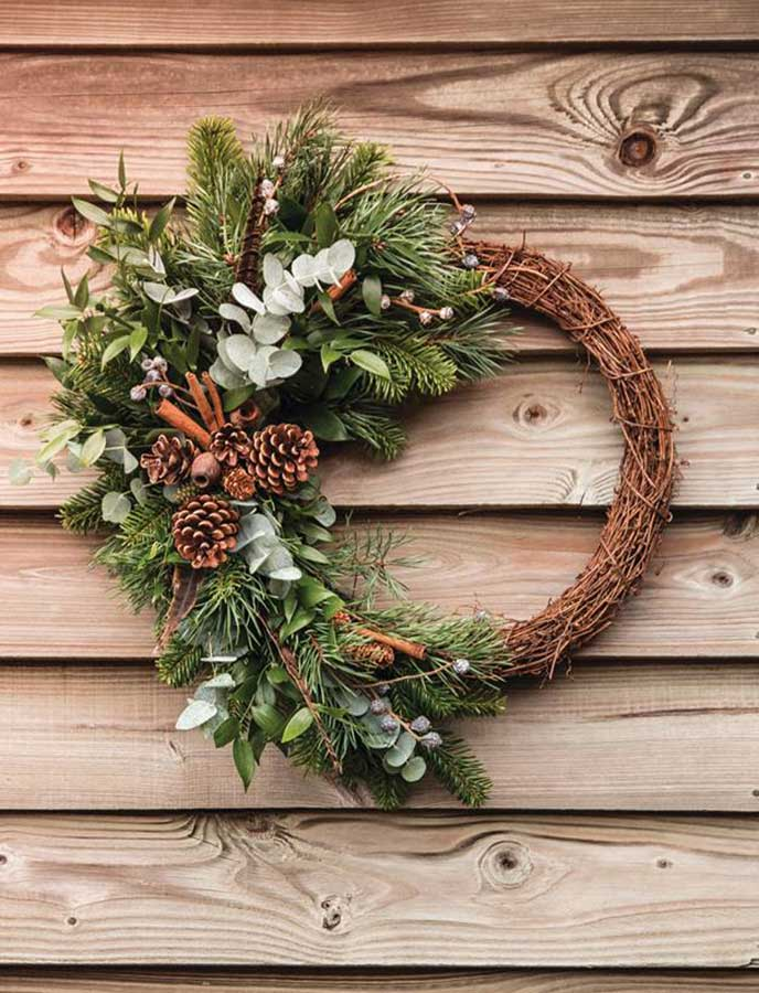 Craft a beautiful wreath to hang on your front door.