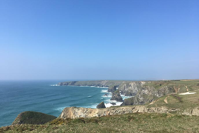 The Bedruthan Steps walk on the north Cornwall coast is absolutely breathtaking.