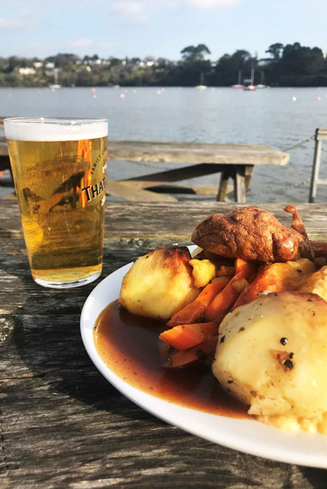 Treat yourself to a riverside roast at the Pandora Inn on Restronguet Creek.