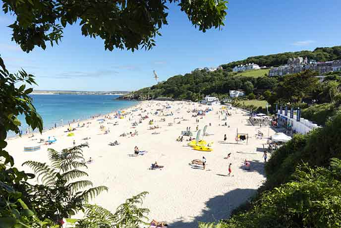 The golden sands of Porthminster welcomes four legs and two legs alike during the winter months.