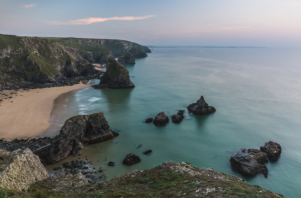 Bedruthan Steps near Newquay is a breathtaking place to visit in Cornwall.