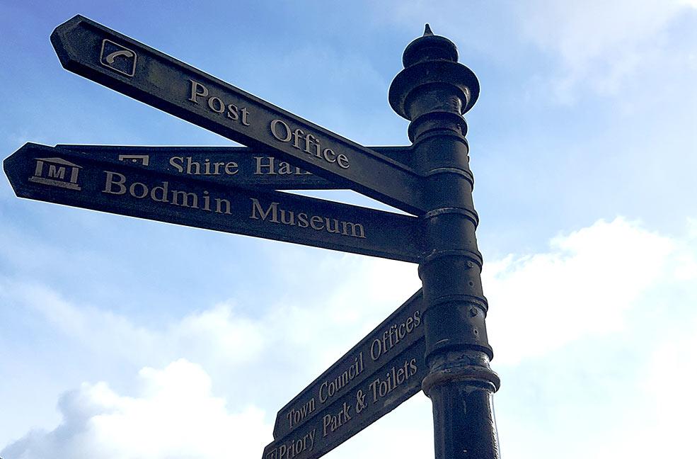 Bodmin signpost