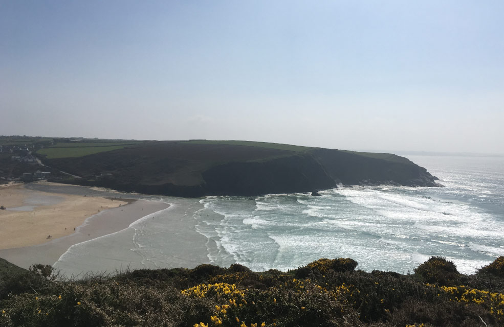 Amazing views from the South West Coast path over Mawgan Porth in Cornwall.