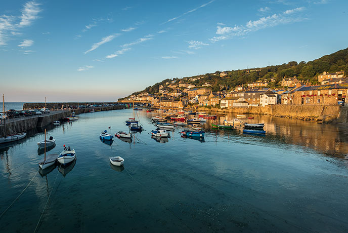 The harbour affords beautiful sea views across Mounts Bay in Cornwall.