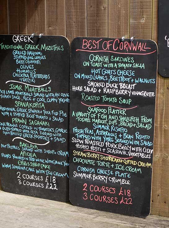 Godrevy menu