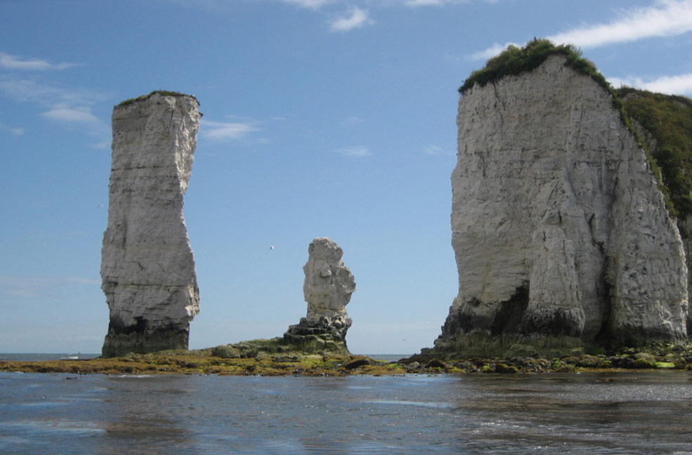 Old Harry rocks mark the edge of Studland nature reserve.