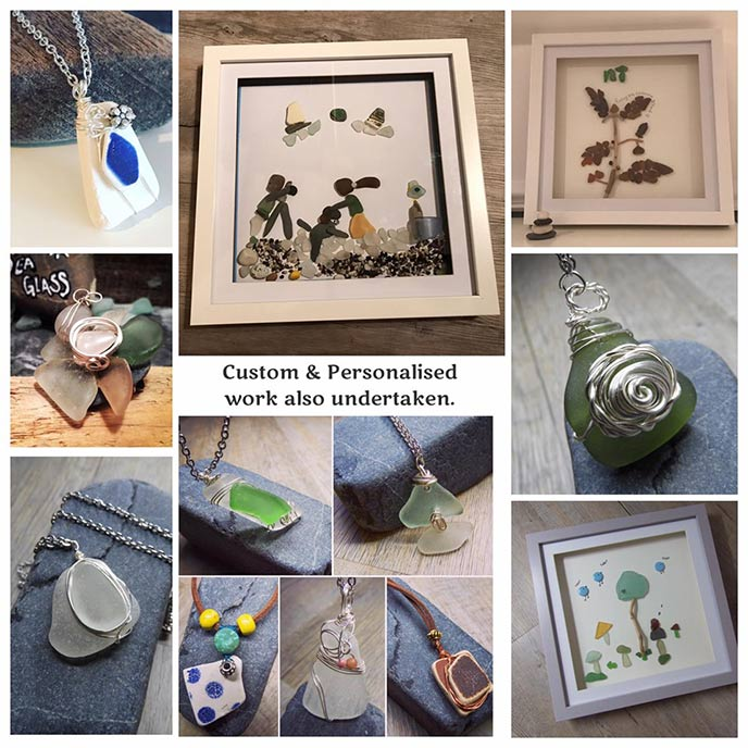 A sample selection of the pictures and jewellery from Pebbletastic sea Glass.
